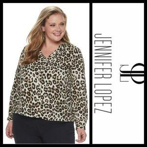 Jennifer Lopez Leopard Print Popover Shirt NWT